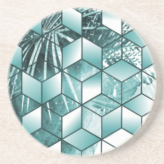 Tropical Cubic Effect Palm Leaves Design Coaster