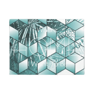 Tropical Cubic Effect Palm Leaves Design Doormat