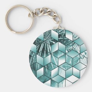 Tropical Cubic Effect Palm Leaves Design Keychain