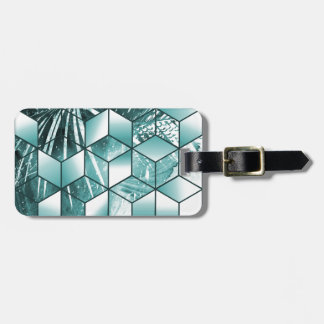 Tropical Cubic Effect Palm Leaves Design Luggage Tag