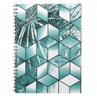 Tropical Cubic Effect Palm Leaves Design Notebook