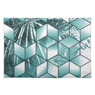 Tropical Cubic Effect Palm Leaves Design Placemat