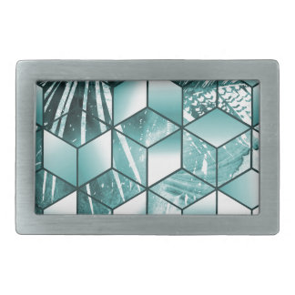 Tropical Cubic Effect Palm Leaves Design Rectangular Belt Buckles