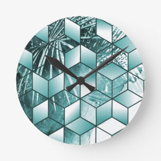 Tropical Cubic Effect Palm Leaves Design Round Clock