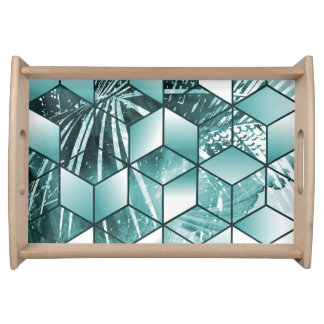 Tropical Cubic Effect Palm Leaves Design Serving Tray