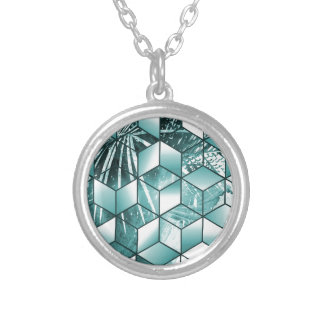 Tropical Cubic Effect Palm Leaves Design Silver Plated Necklace