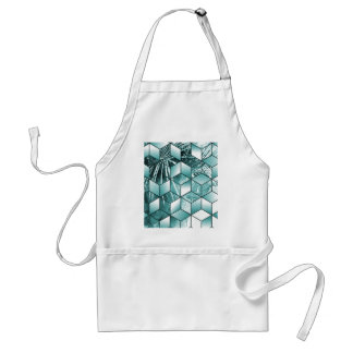 Tropical Cubic Effect Palm Leaves Design Standard Apron