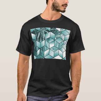Tropical Cubic Effect Palm Leaves Design T-Shirt
