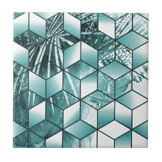 Tropical Cubic Effect Palm Leaves Design Tile