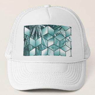 Tropical Cubic Effect Palm Leaves Design Trucker Hat