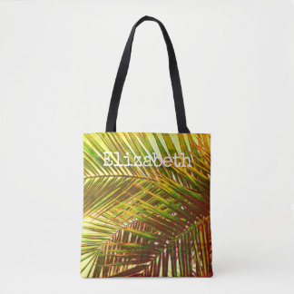 tropical custom personalized tote palm leaf design