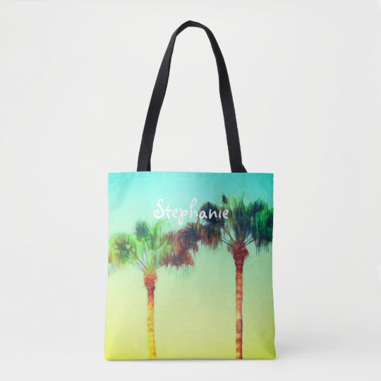 tropical custom personalized tote palm trees