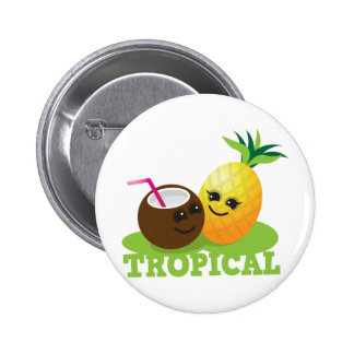 TROPICAL cute Kawaii Coconut and pineapple 2 Inch Round Button