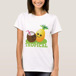 TROPICAL cute Kawaii Coconut and pineapple T-Shirt