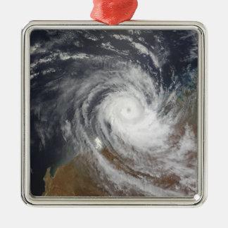 Tropical Cyclone Billy over Australia 2 Silver-Colored Square Ornament
