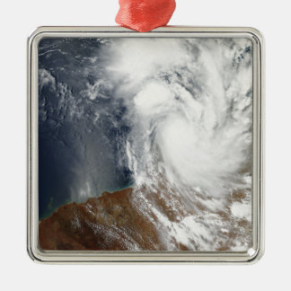 Tropical Cyclone Laurence Silver-Colored Square Ornament