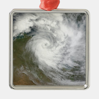 Tropical Cyclone Paul over Australia Silver-Colored Square Ornament