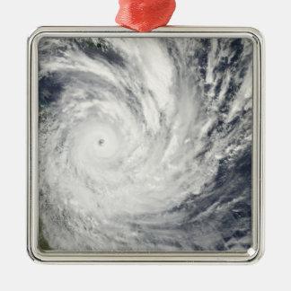 Tropical Cyclone Yasi over Australia Silver-Colored Square Ornament