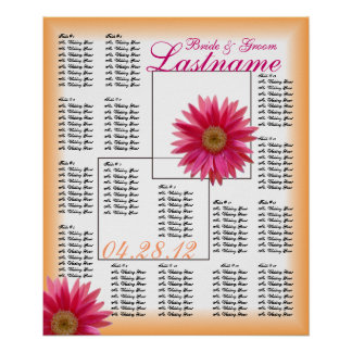 Tropical Daisy Wedding Guest Seating Chart