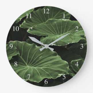 Tropical Dark Green Leaves Large Clock
