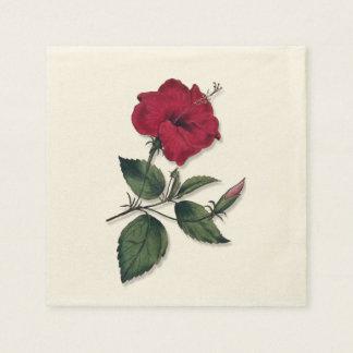 Tropical Dark Red Hibiscus Blossom Paper Napkin