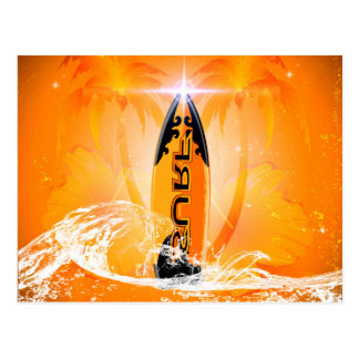 Tropical design, surfboard with palm postcard