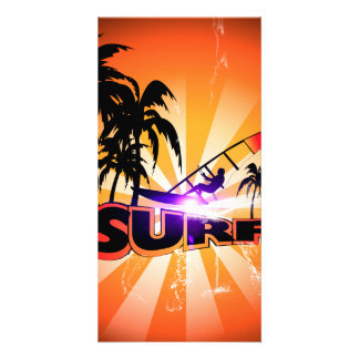 Tropical design, surfboarder with palm custom photo card