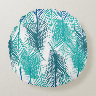 Tropical design with blue palm leafs round pillow