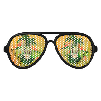 Tropical design with flowers and palm trees aviator sunglasses