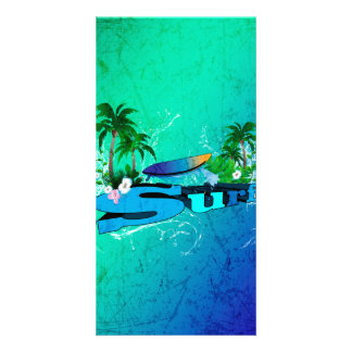 Tropical design with surfboard and palm trees photo card