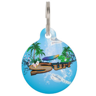 Tropical design with surfboard, palm and flowers pet nametags