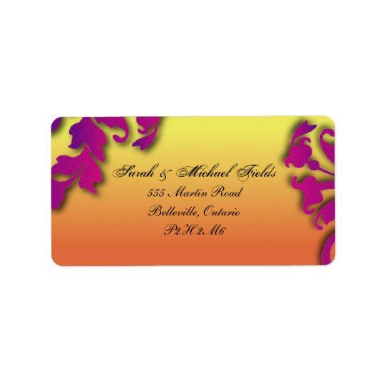 Tropical Destination Floral Wedding Address Labels