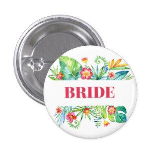 Tropical Destination Wedding Bride 1 Inch Round Button