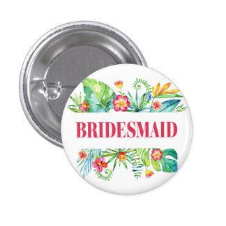 Tropical Destination Wedding Bridesmaid 1 Inch Round Button