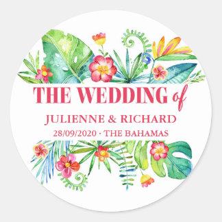 Tropical Destination Wedding Classic Round Sticker