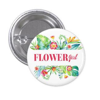 Tropical Destination Wedding Flower Girl 1 Inch Round Button