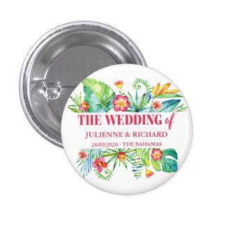 Tropical Destination Wedding Guests 1 Inch Round Button