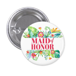 Tropical Destination Wedding Maid of honor 1 Inch Round Button