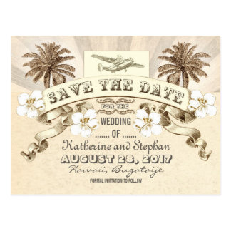 tropical destination wedding save the date postcard