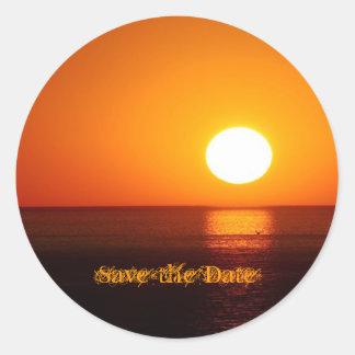 Tropical Destination Wedding Save the Date Sticker