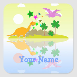 Tropical Dinosaurs Island Name Stickers