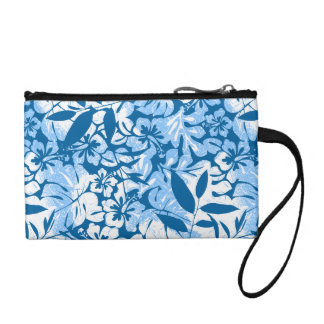 Tropical distressed blue floral coin purse