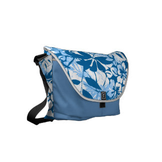 Tropical distressed blue floral courier bags