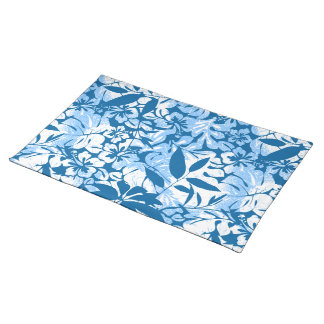 Tropical distressed blue floral placemat