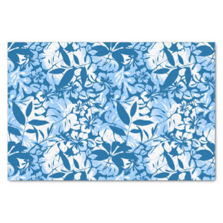 Tropical distressed blue floral tissue paper