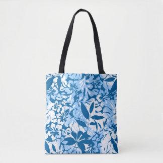 Tropical distressed blue floral tote bag
