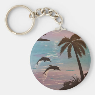 Tropical dolphins keychain