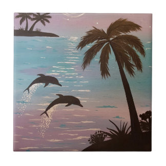 Tropical dolphins tiles