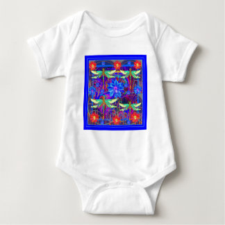 Tropical Dragonflies Blue Flower gifts Baby Bodysuit