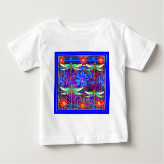 Tropical Dragonflies Blue Flower gifts Baby T-Shirt